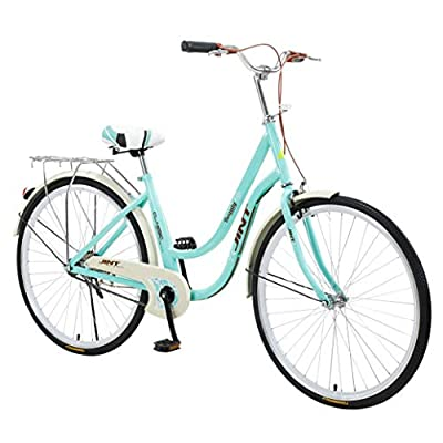 """Women's Classic Beach Cruiser Bicycle, 26"""""""" Wheels, White with Black Seat and Grips-?U.S. Shipping? (Mint Green)"""