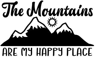 The Mountains are My Happy Place Vinyl Decal Sticker | Cars Trucks Vans SUVs Walls Cups Laptops | 5 Inch | Black | KCD2699B