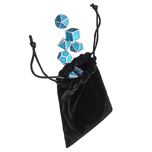 MASUNN Solid Metal Polyhedral Dices Antieke Kleur Rol Spelen Rpg Gadget 7 Dobbelstenen Set Met Tas