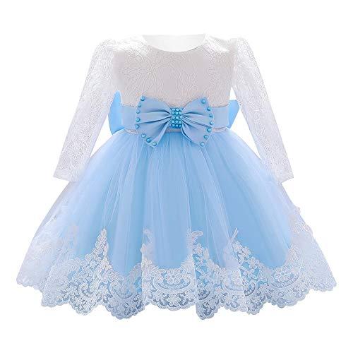 IBAKOM - Vestido de niña para recién nacidos, de malla, de manga larga, con lazo, para bodas y fiestas azul celeste 18-24 Meses