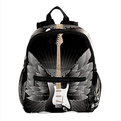 FuJae Zaino da viaggio Mini zaino Borsa piccola Musica Guitar Wings Stripe Zaino leggero da vacanza