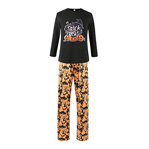 Matching Family Pajamas Sets Halloween PJ's with Pumpkin Printed Long Sleeve Tee and Pants LoungewearB