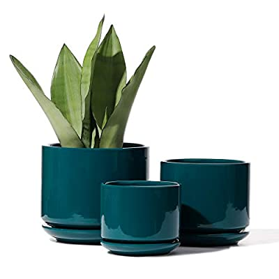 POTEY 055706 Planter Flowerpots Indoor - 4+5.5+6.5 Inch Ceramic Planters Bonsai Container with Drainage Holes & Removable Saucers for Plants Succulent Cactus Flowers(Plants Not Included)