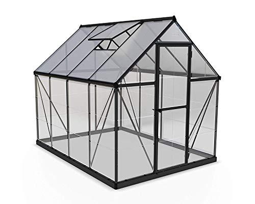 Palram Aluminium Gewächshaus Gartenhaus aus Glas Hybrid 6x8 250x185x209 cm (LxBxH) Treibhaus & Tomatenhaus zur Aufzucht