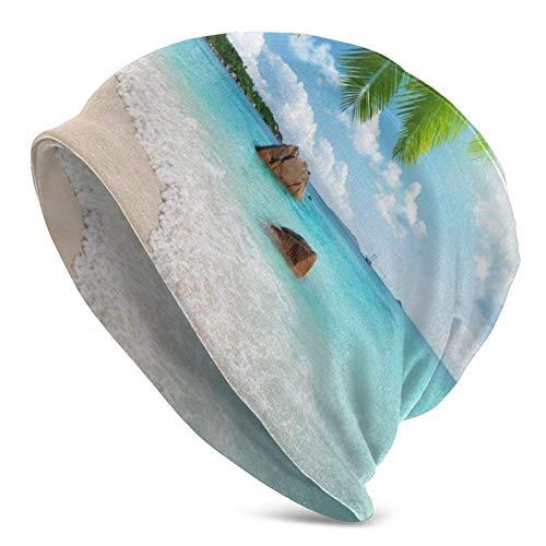 Sunset Ocean Beach Coconut Tree Sea Landscape Invierno Verano Cálido Slouchy Cuff Adult Beanie Hat Sombrero de Punto Suave Hombres Mujeres Skull Cap