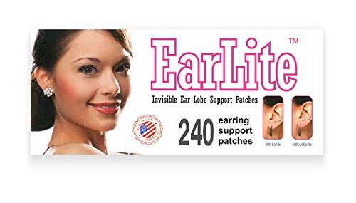 EarLite Parches invisibles resistentes al agua para sujeción de pendientes en el lóbulo de la oreja, 240 unidades (4 paquetes con 60 cada uno) en bolsa con cierre hermético
