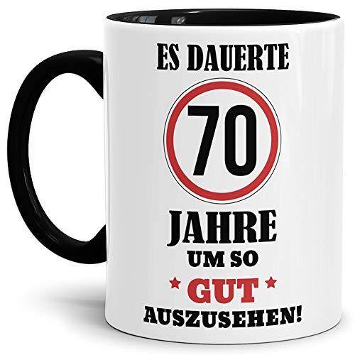 Tassendruck Geburtstags-Tasse Es dauerte 70 Jahre um so gut auszusehen Innen & Henkel Schwarz/Geburtstag/Geschenkidee/Scherzartikel/Lustig/mit Spruch/Witzig/Spaß/Fun/Kaffeetasse/Mug/Cup