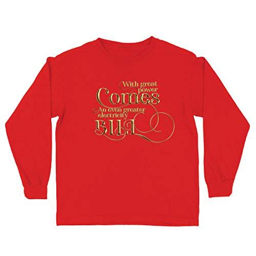 lepni.me Camiseta para Niño/Niña con la Gran Potencia llega la Mayor cotización de la factura de Electricidad (3-4 Years Rojo Multicolor)