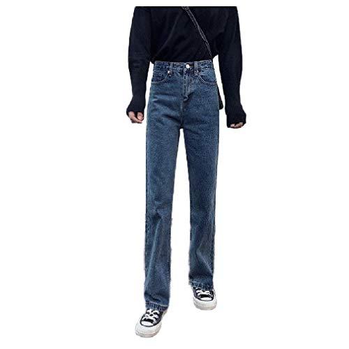 Calça jeans feminina Abetteric de cintura alta e pernas largas, rasgada, com furo para namorado, outono, inverno, Azul, X-Large