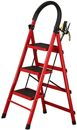 ZHJING Vik stegstol för vuxna/seniorer, säkerhet 3 steg stege för kök/kontor, 330lbs kapacitet, röd, 41 × 59 × 117cm