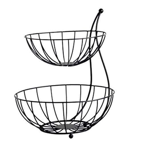 Fruit Basket Decoration Fruit Basket Arched Server Stacked, 2-Tier Bowls, Dining Table & Kitchen Counter Organizer, Modern Fruit Basket Stand Fruit Bowl