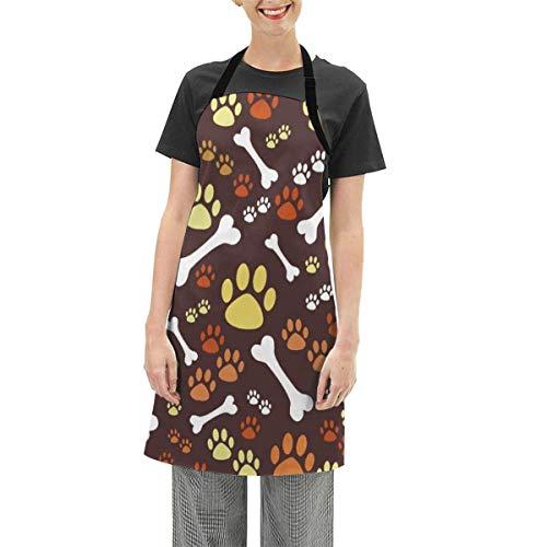 Seiobax Hundepfoten Knochen Wolf unter dem Vollmond, Frauen Küchenschürze mit verstellbarem Hals Erwachsenengröße, zum Kochen Malen, Geschenk