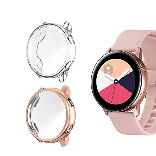 Jvchengxi Compatible for Samsung Galaxy Watch Active Pellicola Custodia, Piena Copertura Protezione Schermo TPU per Samsung Galaxy Watch Active Smartwatch (Oro Rosa Trasparente)