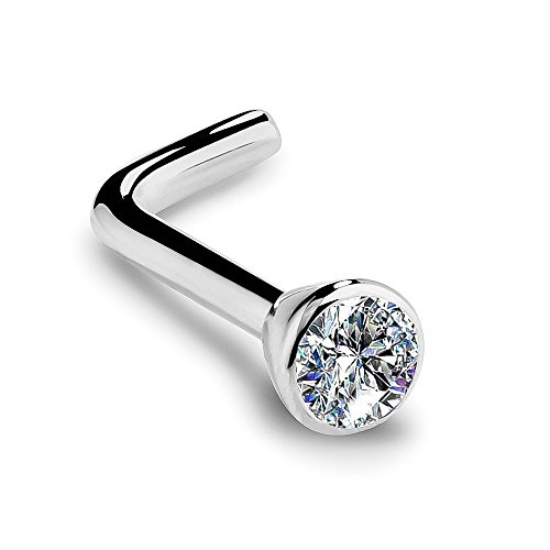 I1 2mm 0.03ct. t.w. Diamond Flush Bezel Set Diamond 14K White Gold L-Shape Nose Ring 18G