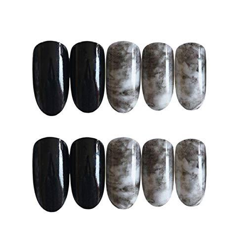 24 pcs avec des femmes manucure décorations détachable noir faux ongles pleine couverture tête ronde pleine couverture artificielle ongles conseils TN