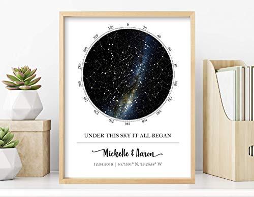 Custom Star Map - Personalized Star Map (Multiple Sizes - Unframed Star Prints, Star Constellation...