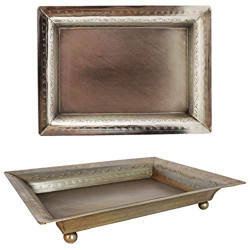 Orientalisches eckiges Tablett Schale aus Metall Genna 24cm groß Silber | Orient Dekoschale mit hoher Rand | Marokkanisches Serviertablett Eckig | Orientalische Silberne Deko auf dem gedeckten Tisch