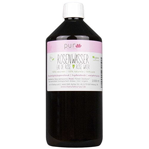 1000 ml Echtes Rosenwasser Bio Organic Rose Water 100% naturreines Rosen-Hydrolat