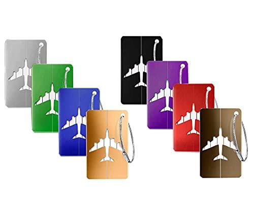 Dingzing Viaggio bagagli Tag, 8 Pezzi Valigia bagagli Bag Tag Alluminio Etichette per BagaglioTarghette Colore diverso Etichette per Bagaglio