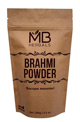 MB Herbals Pure Brahmi Leaf Powder 100g / 3.5 oz - 100% Pure - Bacopa monnieri Leaf Powder - Promotes Hair Growth & Brain Function