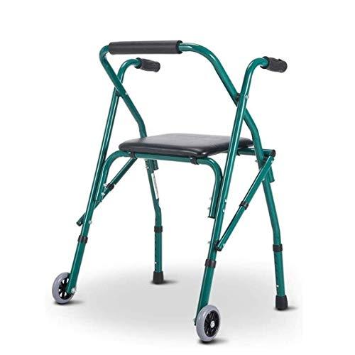 Rely on Walking Walker para Personas Mayores Rollator Rollator Walker con Asiento y Ruedas, portátil, Ligero, Plegable, para Personas Mayores, para la casa al Aire Libre (Color: Verde) (Color: Verde ✅