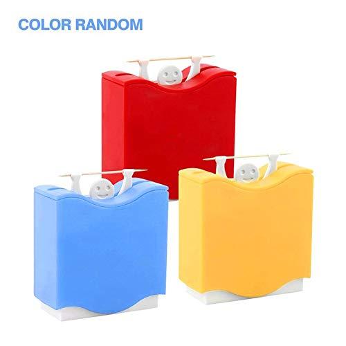 1 Stück Kunststoff automatische Zahnstocher Inhaber Zahnstocher Box Dispenser Bucket Home Stehtisch Zubehör 3 Farben - gelb