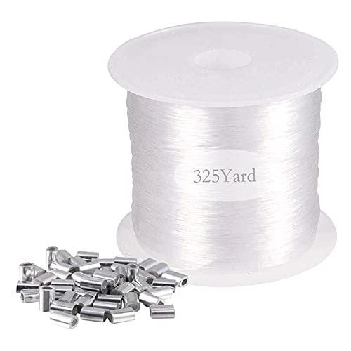 Clear Invisible Hanging, Aulufft Strong Clear Nylon Wire for Hanging Christmas and 50 Loop Sleeve Oval Shape, 0.8mm, 300m/325Yard/980Ft Crystal String Elastic String