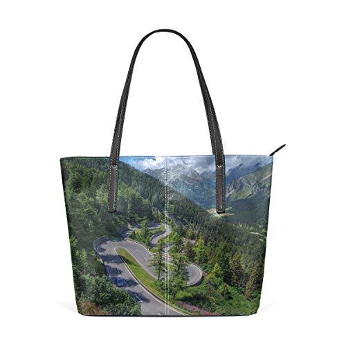 NR Multicolour Fashion Damen Handtaschen Schulterbeutel Umhängetaschen Damentaschen,Natürliche Ansicht von Bergen Maloja Pass Alps Switzerland Europe Forest Highway