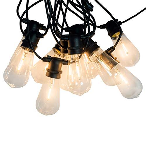 connox Collection LED-Lichterkette, 10 Lampen (oval) 7,6 m schwarz, strombetrieben Lichterkette warmweiß mit Stecker, IP44 Lampen für Garten, Balkon, Sommer-Party-Dekoration
