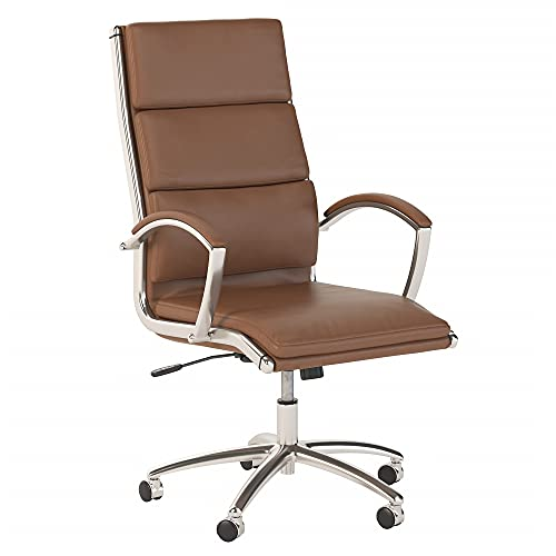 Bush Business Furniture Jamestown High Back Executive Office Chair, Saddle Leather