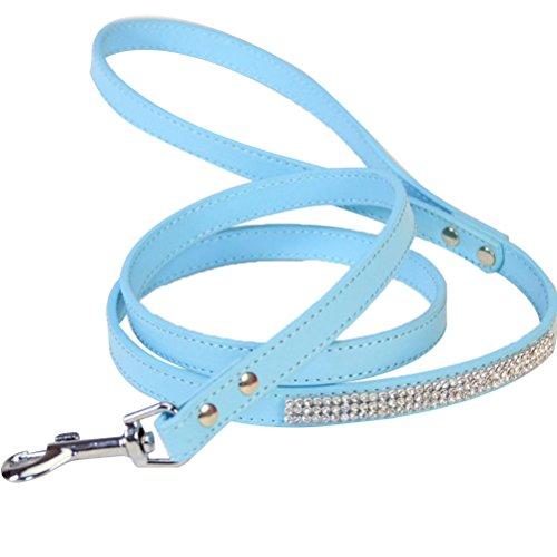 UEETEK Strass Hundeleine Katzenleine PU Leder mit Karabiner für Haustier Hund Katzen (Blau)