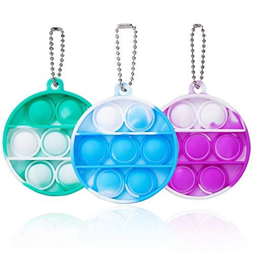ZNNCO Tie-dye Pop Fidget Toy,Fidgets Sensory Toys Mini Fun Bubbles Fidget Squeeze Keychain Toy for Kids Adults (Round-Tie Dye Blue+Green+Purple)