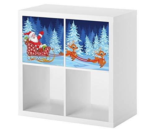 Möbelaufkleber für Ikea KALLAX / 2x Türelemente Kinderzimmer Weihnachten Winter Schlitten Renntiere Kat2 Weihnachtsmann KL2 Aufkleber Möbelfolie Tür sticker (Ohne Möbel) 25E2707