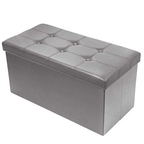 BRIAN & DANY Pouf Coffre de Rangement Boîte Tabouret Pliant Banc Pouf de Pliable, Simili Cuir, 76 x 38 x 38 cm, Gris
