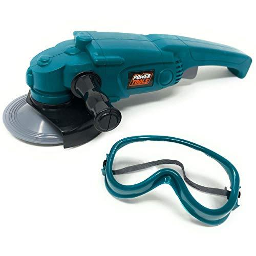 DDS Spielzeug Winkelschleifer Set für Kinder - Handbetriebenes Werkzeug mit Brille | Kinderspielzeug mit rotierende Scheibe | Schleifmaschine Maße: 25 cm x 8 cm x 16 cm | Ab 3 Jahre (Winkelschleifer)