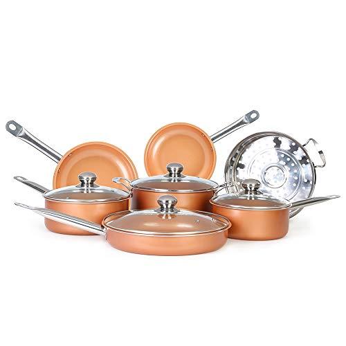 Antihaft-Kochgeschirr-Set aus Kupfer, mit Induktionskochtöpfen und Pfannenset, Kochtopf-Set und ofenfeste Induktionskochgeschirr-Set