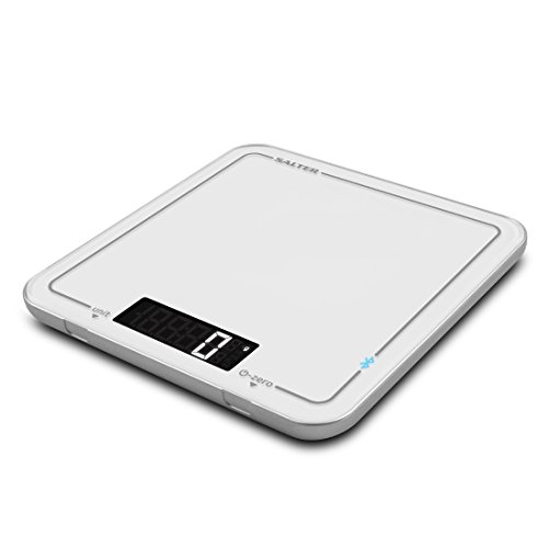Balance de cuisine Bluetooth Salter Cook, application Salter Cook, recettes de suite, peser des ingrédients, mesurer des liquides, accessoire élégant, écran numérique, en métrique ou impériale
