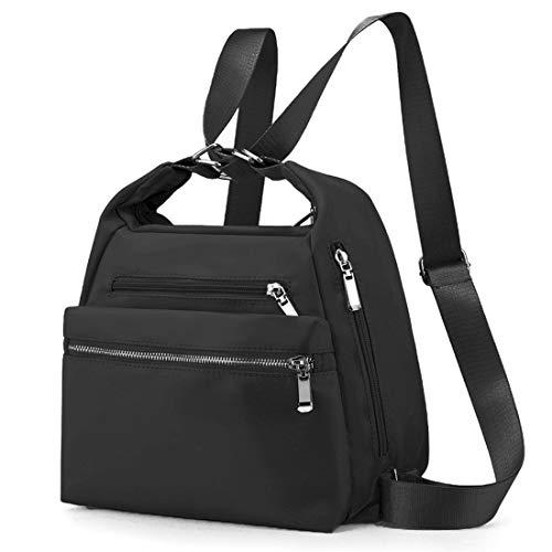 LOSMILE Zaino Donna Borse a zainetto Nylon Borse a spalla moda Borse a mano Backpack Daypack per Scuola Viaggio lavoro (Nero)