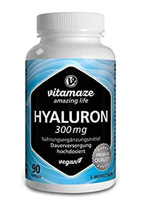 Hyaluronic Acid Capsules 300mg per capsule VEGAN for 3 months high bioavailability: MICRO-MOLECULAR 500-700 kDa and without the release agent magnesium stearate