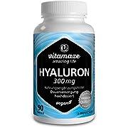Vitamaze Acido Ialuronico Puro ad Alto Dosaggio 300 mg per Capsula Vegan, 90 Capsule per 3 Mesi, Elevata Biodisponibilità: Micromolecolare 500-700 kDa, Integratore Alimentare senza Additivi