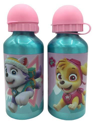 ML Una Botella de Agua de Aluminio, Patrulla Canina cantimplora Aluminio a Prueba de Fugas sin BPA para Levar a la Escuela y Deportes 450ml (Rosa)