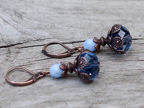 Vintage Ohrringe mit böhmischen Glasperlen - hellblau, babyblau & kupfer
