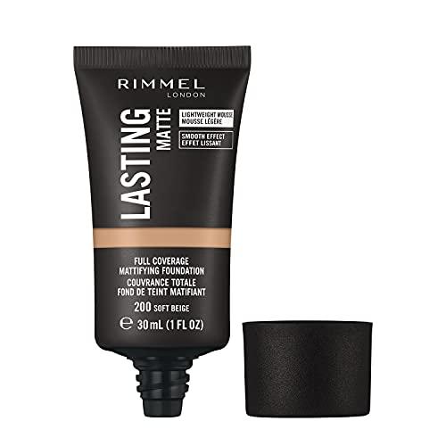 Rimmel Lasting Matte Foundation, Base de Maquillaje, Tono 200, 30 ml, Beige Suave