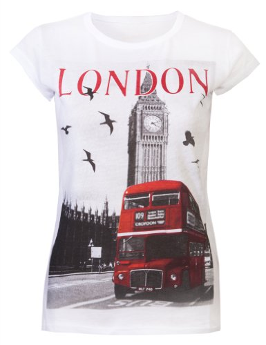 Womens Tops Ladies T Shirts Glitter London Souvenir Tee...