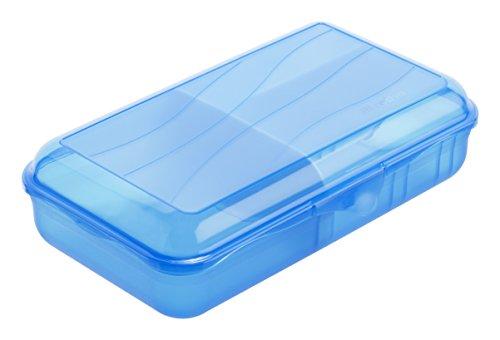 Rotho Fun Vesperdose mit 2 herausnehmbaren Trennwänden, Kunststoff (BPA -frei), blau, Gr. L / 1.7 Liter (24,5 x 14,5 x 6,5 cm)