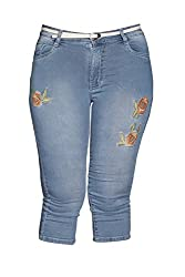 Kirosh Girls Silky Stretchable Designer Denim Capri with Belt