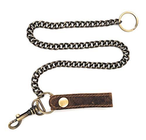 Chaîne de sécurité Jockey Club - En métal - Pour serveur, portefeuille - Avec boucle en cuir véritable - Marron