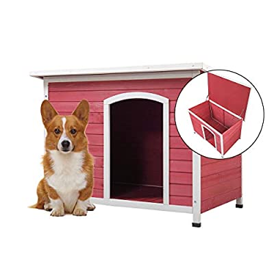 """COZIWOW Medium Outdoor Deluxe Slant-Roofed Wood Dog Pet House Shelter Kennel with Open Entrance,Red & White,40.7"""" x 20.8"""" x 28.54"""""""