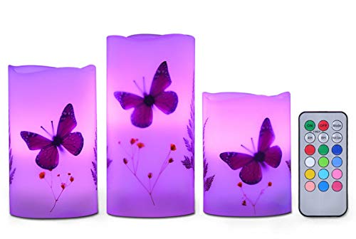 Candles Set of 3 Flameless 4' 5' 6' Unscented Tealight Butterfly Flower Plants Decor Real Wax Pillar Candle LED Lights 12 Color Changing 4H 8H Timer Remote Control AAA Batteries Operated