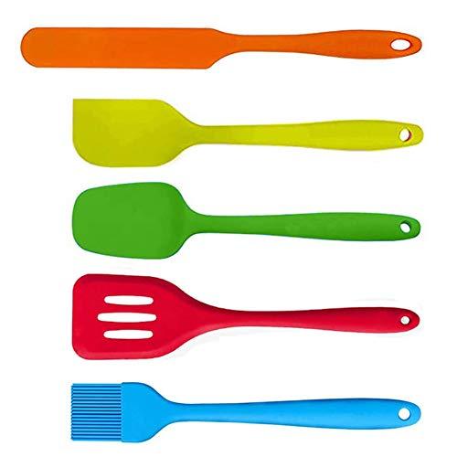 Suntchen 5Pcs Silicone Spatula Set Colorful Mini Spatulas - 480°F Heat Resistant Nonstick Versatile Kitchen Utensil Set for Baking, Mixing, Cooking, Dishwasher Safe